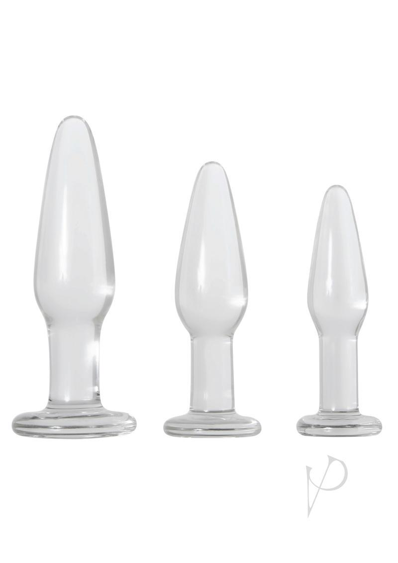 Adam And Eve Glass Anal Training Trio Anal Plug Kit - Clear