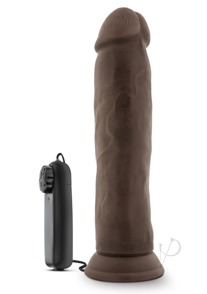 Dr. Skin Dr. Throb Vibrating Dildo With Remote Control 9.5in - Chocolate